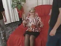 Blowjob, Cumshot, German, Granny, Threesome