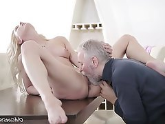 Blonde, Blowjob, Facial, Old and Young
