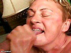 Blowjob, Facial, Granny, Mature, Saggy Tits