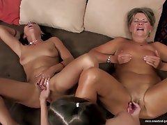 Lesbian, Granny, Mature, Group Sex