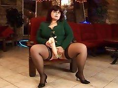BBW, Big Boobs, Masturbation, Stockings